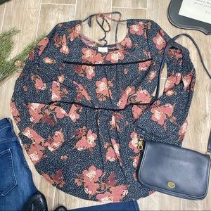 Knox rose floral black abstract peasant blouse